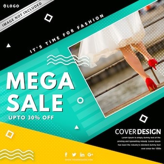 Mega sale banner template. up to 30% off