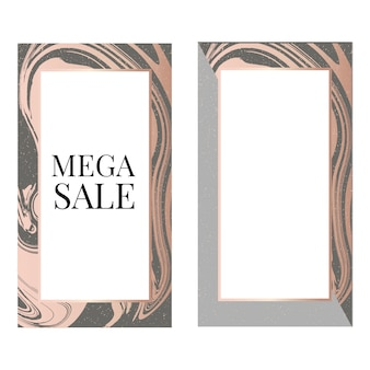 Mega sale banner template with fashion frame