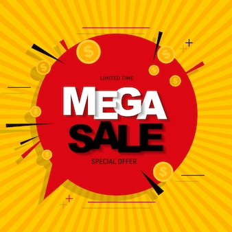 Mega sale banner with coins
