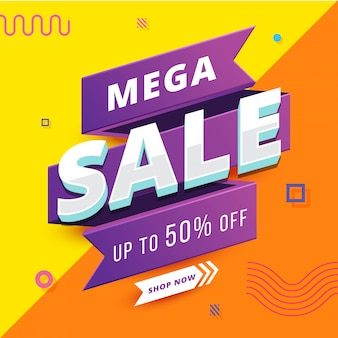 Mega sale banner with geometrical background