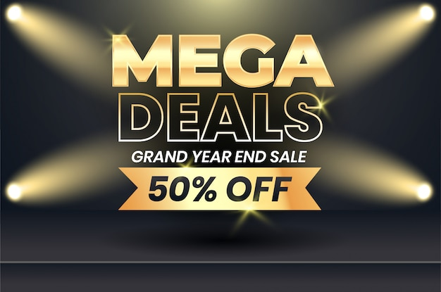 Mega sale banner with gold text on dark background