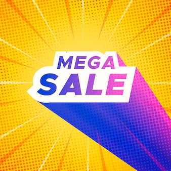 Mega sale banner with yellow comic zoom background