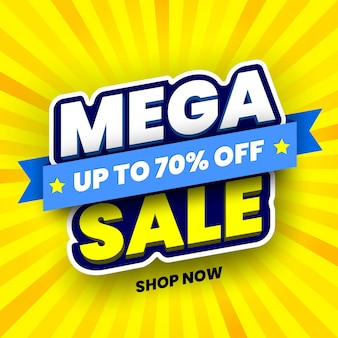 Mega sale banner on yellow striped