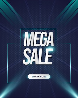 Шаблон mega sale banner с футуристическим стилем