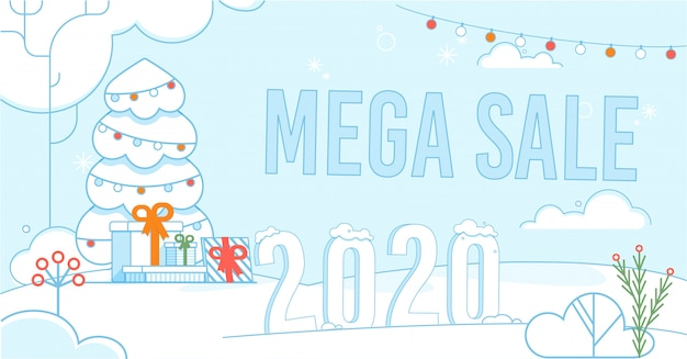 Mega sale on christmas and new year promo poster