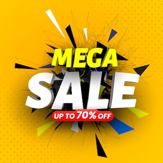 Mega sale colorful banner.  illustartion.