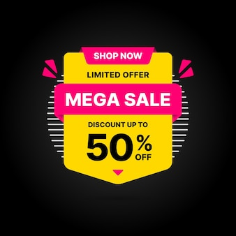 Mega sale deal banner template design, big sale special offer.