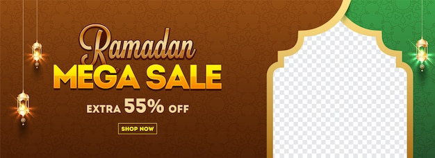 Mega sale, discount 55% off and best offer website header or ban