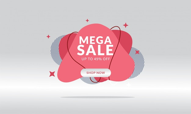 Mega sale discount banner template promotion