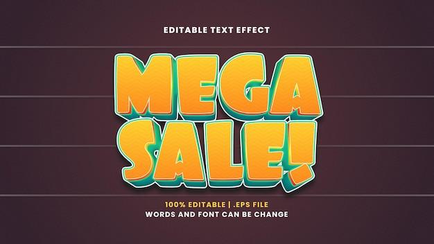 Mega sale editable text effect in modern 3d style
