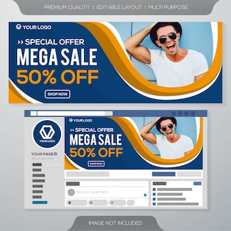 Mega sale facebook banner template