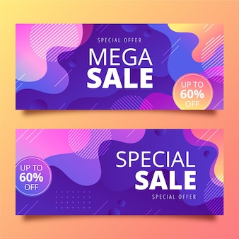 Mega sale  gradient banners design