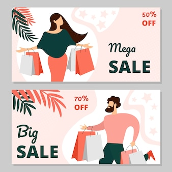 Mega sale horizontal banner templates