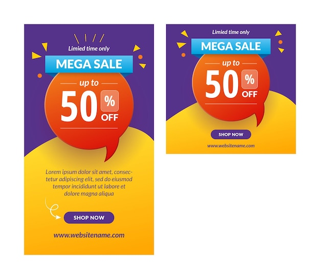 Mega sale instagram story banner vector template