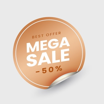 Mega sale label or sticky with 50% discount offer on white background