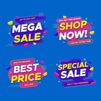 Mega sale labels design with discount