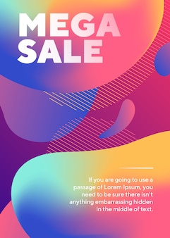 Mega sale lettering poster with abstract fluid shapes