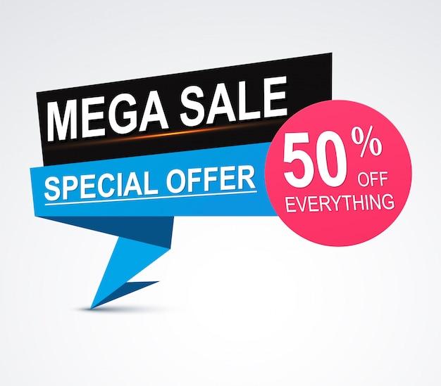Mega sale origami paper banner 50% discount