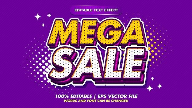 Мега распродажа поп-арт ретро редактируемый текстовый эффект в стиле старого стиля