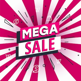 Mega sale poster, banner. big sale, clearance.