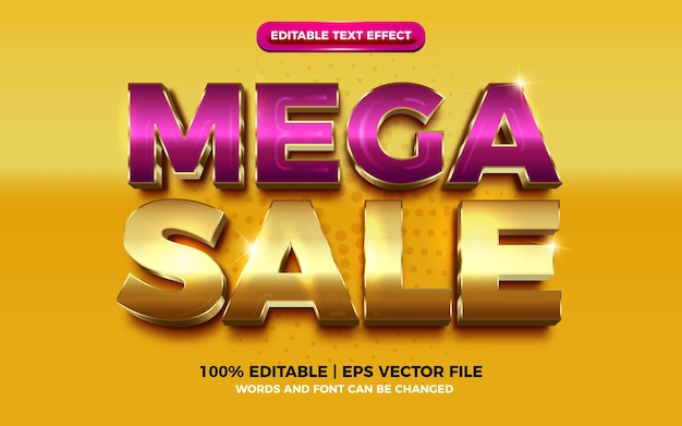 Mega sale purple luxury gold editable text effect