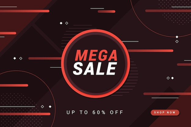 Mega sale red circle and lines dark background