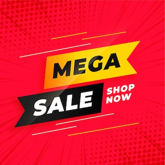 Mega sale red  template in ribbon style