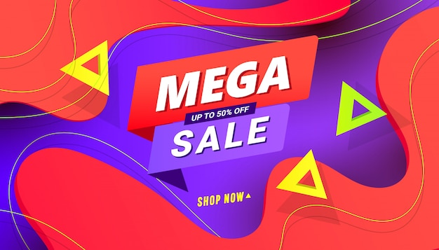 Mega sale shopping day banner background with polygonal speed gradient shapes on color background