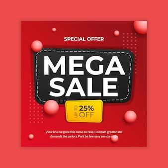 Mega sale social media banner post