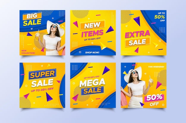Mega sale social media posts with promotion