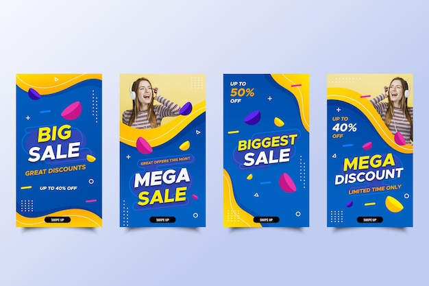 Mega sale social media stories with discount