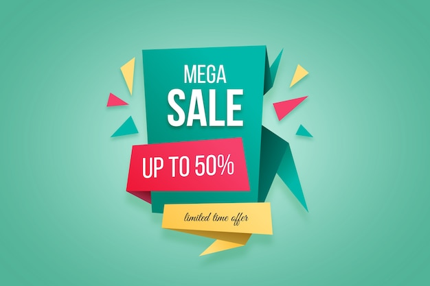 Mega sale special offer banner in origami style