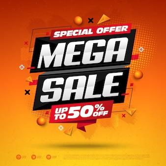 Mega sale special offer square design