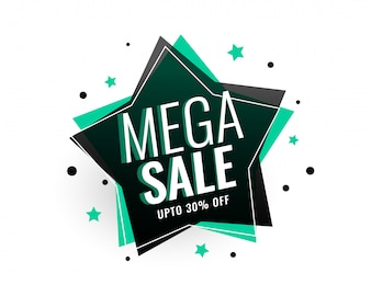 Mega sale star tag banner design
