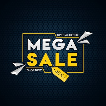 Mega sale template with 40% discount offer