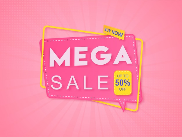 Mega sale template with 50% discount offer and speech bubble