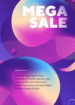 Mega sale text poster with abstract neon shapes