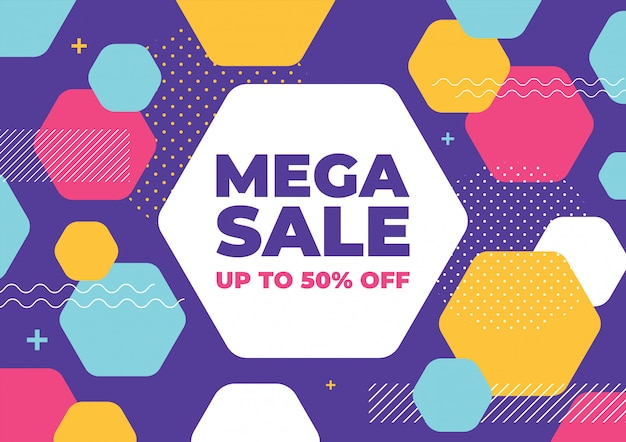 Mega sale with colorful geometric shapes banner.