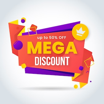 Mega sale with crown banner in origami style