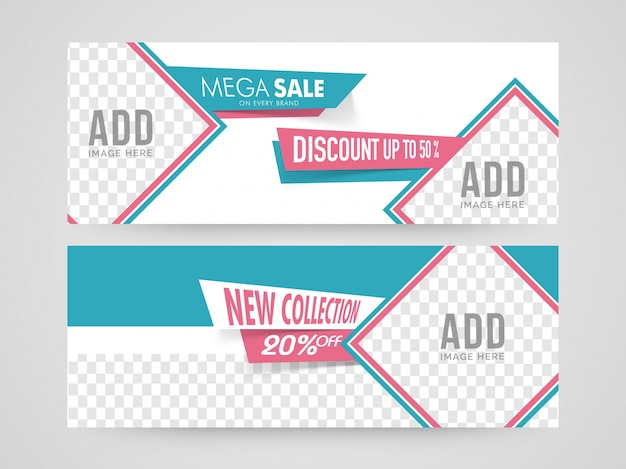 Mega sale with discount upto 50%, creative website headers with space for your images.
