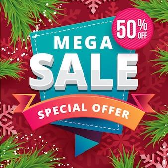 Значок mega sale с красным рождественским тематическим фоном