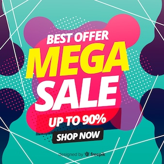 Mega sales background in abstract style