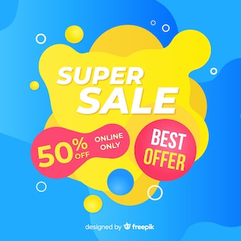 Mega sales background with abstract shapes