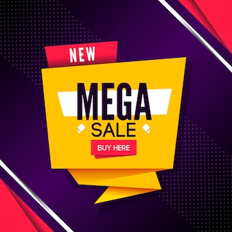 Mega sales banner in origami style