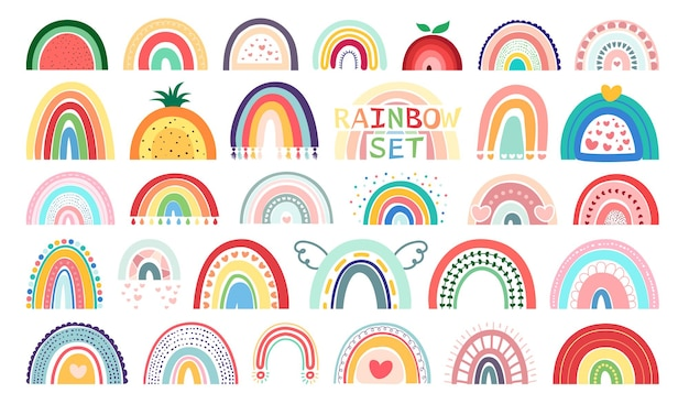 Mega set boho rainbows isolated on white background in cute delicate pastel colors