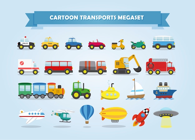 Mega set of cars, vehicles, and other transports. funny cartoon style for kids.