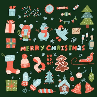 Mega set of cute christmas characters and decoration elements. christmas collection for holiday decoration, greeting card, printing. mouse, snowman, reindeer, toys