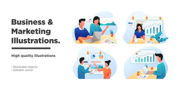Mega set flat business and marketing illustrations vector graphic of collection scenes with men and women taking part in business activities. trendy vector style
