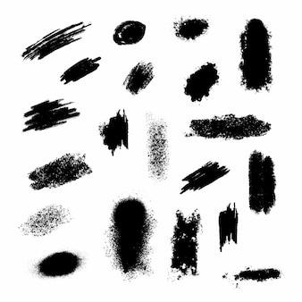 ブラシストロークとスプラッタのメガセット。絵筆セット。グランジデザイン要素。黒のスプラッタコレクション。