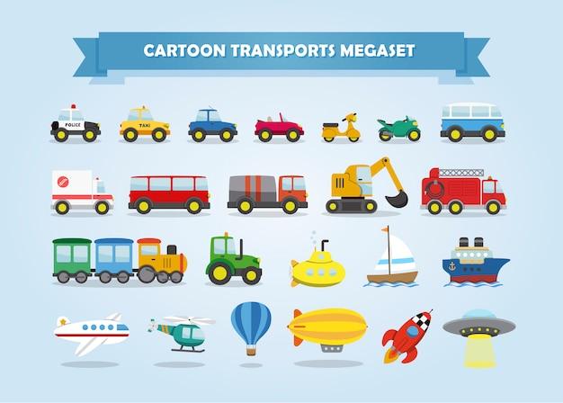 車、車両、その他の輸送手段のメガセット。子供のための面白い漫画のスタイル。
